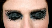Black makeup eye shadows fashion model closeup