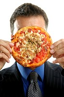 businessman and pizza junk fast food, studio white background
