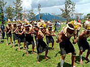 men at the Highland festival, Papua New Guinea