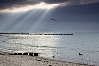 sunlight breaking through thunderclouds, Germany, Mecklenburg_Western Pomerania, Baltic Sea, Darss