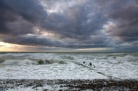 groyne in Baltic Sea and thunderclouds, Germany, Mecklenburg_Western Pomerania, Baltic Sea, Darss