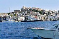 Ibiza Balearic Mediterranean white island from Spain