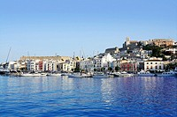 Ibiza island harbor in Mediterranean spanish sea
