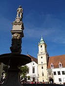 main square, Maximilian´s fountain and the old town hall in Bratislava, Slovakia