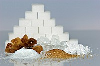 assortment of sugar: brown and white rock sugar, powdered sugar