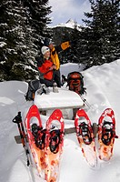 Snowshoe hikers hiking to the Alpe Nemes Mountain, High Puster Valley or Alto Pusteria, Bolzano-Bozen, Dolomite Alps, Italy, Europe