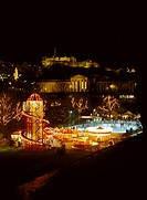 Princes Street Gardens PRINCES ST GARDENS EDINBURGH Winter wonderland ice rink and funfair Christmas time at night