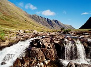 River Coe GLENCOE ARGYLL Waterfall fast rapids flowing water mountains Aonach Eagach The Chancellor