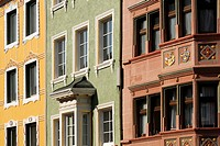 Facade of a row of houses in Villingen, Baden_Wuerttemberg, Germany, Europe