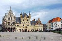 Stadhuis (Town Hall) and Palace of the Great Council in Grote Markt, Mechelen. Malines. Flanders. Flemish Region, Belgium