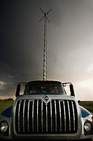 The Doppler on Wheels truck DOW 7 raises its antenna in southwestern Iowa, May 31, 2009  DOW 7 is the mobile command post during Vortex 2 operations -...