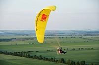 paraglider over cultural landscape, Germany, Saxony_Anhalt, Ballenstedt