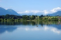 Rieg Lake with Zugspitze, Germany, Bavaria, Riegsee