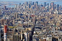view south from the Empire State Building on the Financial District, USA, New York City, Manhattan