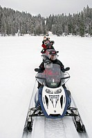 Winter fishing safari with snowmobiles. Kuusamo safaris, Finland, Kuusamo