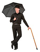 young man with bowler hat, umbrella and walking stick
