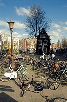 City_life and bicycles in Amsterdam, Netherlands