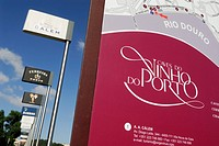 Porto  Portugal  Signs of famous Port Wine producers line the promenade of Vila Nova de Gaia