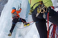 ice climbing in Val d´Isère ski resort, France, Alps
