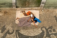 Sleeping homeless children, Salvador de Bahia, Brazil, South America