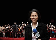 Filipino broadcaster at red carpet event