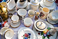 Crockery at a flea market