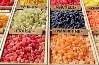 Market stand with different kinds of bonbons, France, Provence
