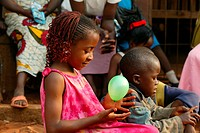 Girl holding a balloon, Women's Education Centre, Bamenda, Cameroon, Africa