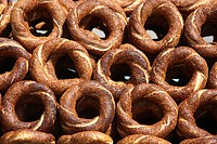 Simit, circular bread rings with sesame seeds, Istanbul, Turkey