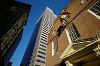 Boston  USA  The Old State House surrounded by skyscrapers in Downtown Boston
