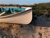 Fishing boat on dunes
