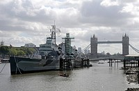 HMS Belfast, Tower Bridge, London, Great Britain, Europe