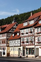 Half_timbered houses in Wasungen, Rhoen, Thuringia, Germany, Europe