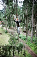 Climber in a ropes course, Adventure Park near Fulpmes, Stubai Valley, Tyrol, Austria, Europe