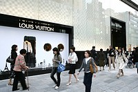 Louis Vuitton store on Chuo Dori Street, luxury shopping and entertainment district, Ginza, Tokyo, Japan, Asia