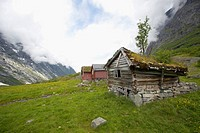 Norway, Fjord Norway, Erdal, Old cabins