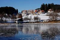 Wintertime, Schluchsee (Schluch Lake) frozen, Black Forest, Baden-Wuerttemberg, Germany, Europe