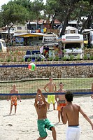 Beach volleyball at Poljana Campground for tents and RVs, Losinj Island, Croatia, Europe