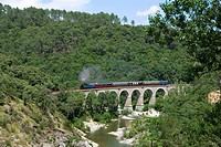 steam engine, Train a vapeur des Cevennes, on a railway bridge, France, Cévennes, Languedoc_Roussillon, St_Jean_du_Gard