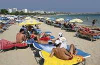 Tourist hotels, tourists on the beach at Ayia Napa, Cyprus, Europe
