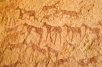 prehistoric rock paintings at Jebel Uweinat, Libya, Jabal al Awaynat