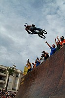 BMX_rider after jumping from ramp, Spain, Balearen, Majorca, Palma