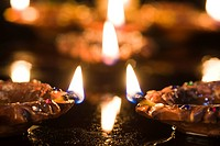Close_up of Diwali oil lamps