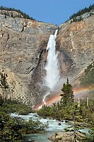 Takakkaw Falls in British Columbia with rainbow at base