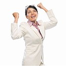 Businesswoman exclaiming with joy