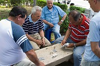 Group of old men playing card in a park in Palermo, Sicily, Italy
