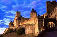 France, Languedoc, Carcassonne, Castle walls illuminated at night (thumbnail)