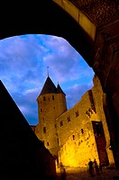France, Languedoc, Carcassonne, Castle walls illuminated at night