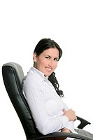 Brunette businesswoman sit on black office chair white background