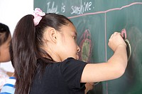 Child, Children drawing on the blackboard